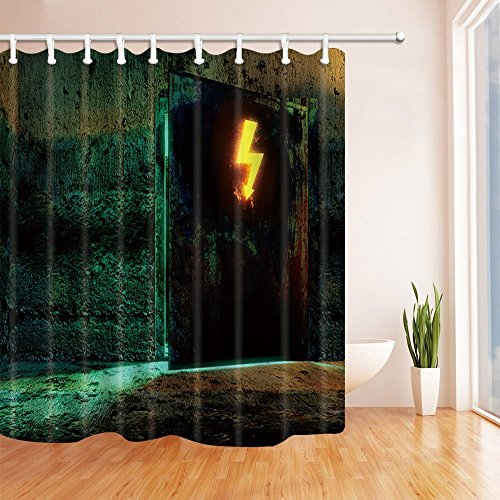Chrome Symbol Tub (GoHeBe Chamber Decor Lightning Symbol on the Stone Wall Mildew Resistant Polyester Fabric Shower Curtains Bathroom Shower Curtain with Rings,71X71in)