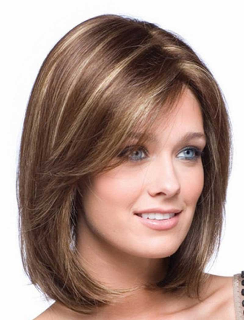 Tsnomore Shoulder Length Short Straight Fashion Women's Full Hair Wig (Brown) A0672