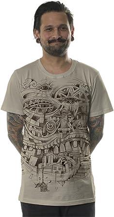 Camiseta Urbana Illuminati City Steps para Hombre - Ropa Alternativa con Arte gráfico psicodélico: Amazon.es: Ropa y accesorios