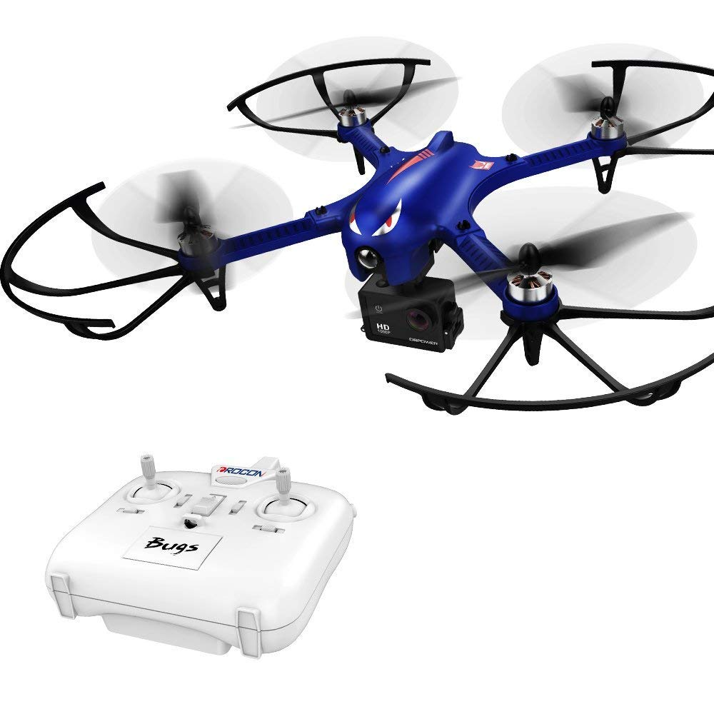 Drone for Gopro - DROCON Blue Bugs Brushless Motor Quadcopter for Beginners - 18Min Long Working Time - 300 Meters Long Control Range