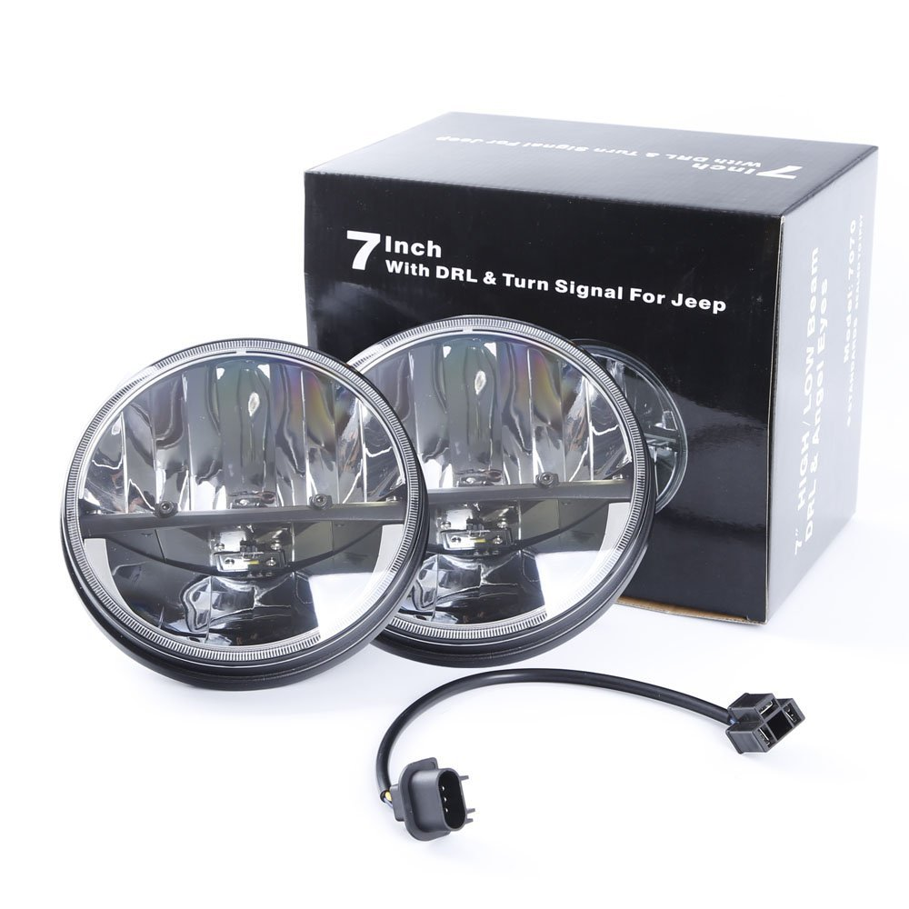 WHDZ 7 Inch 75W Round Philips LED Headlight with DRL H//L Beam for Offroad Jeep Wrangler JK TJ Harley Davidson Hummer Driving Lamp Pack of 2
