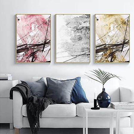 Zshscl Impression Sur Toile Peinture 3 Pièces Abstrait Jaune