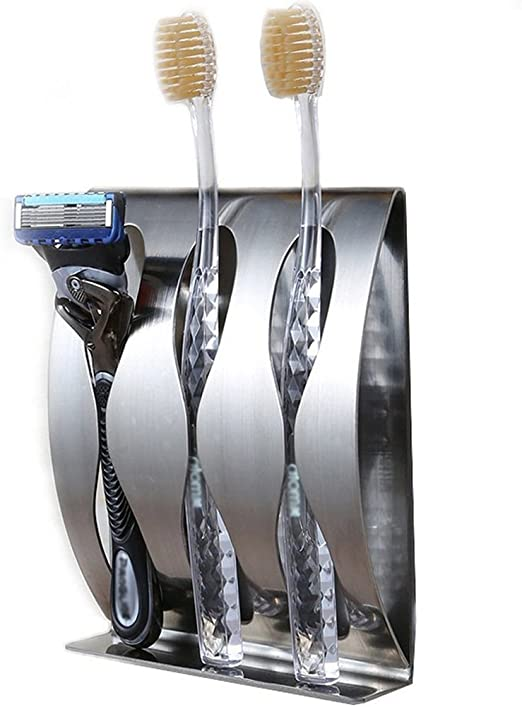 Bathroom Stainless Steel Toothbrush Shaver Holder Wall Mounted Sticky