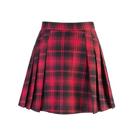 QZBTU Faldas Mujer Falda A Cuadros Rojos De Invierno Mujer Señora ...