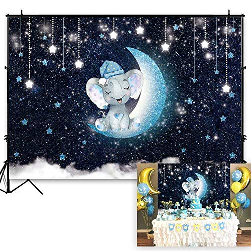 Funnytree 7x5ft Blue Elephant Twinkle Twinkle Little Star Backdrop Glitter Starry Night Boy Baby Shower Birthday Photography Background Cloud Sky Party Cake Table Decorations Banner Photo Booth Props