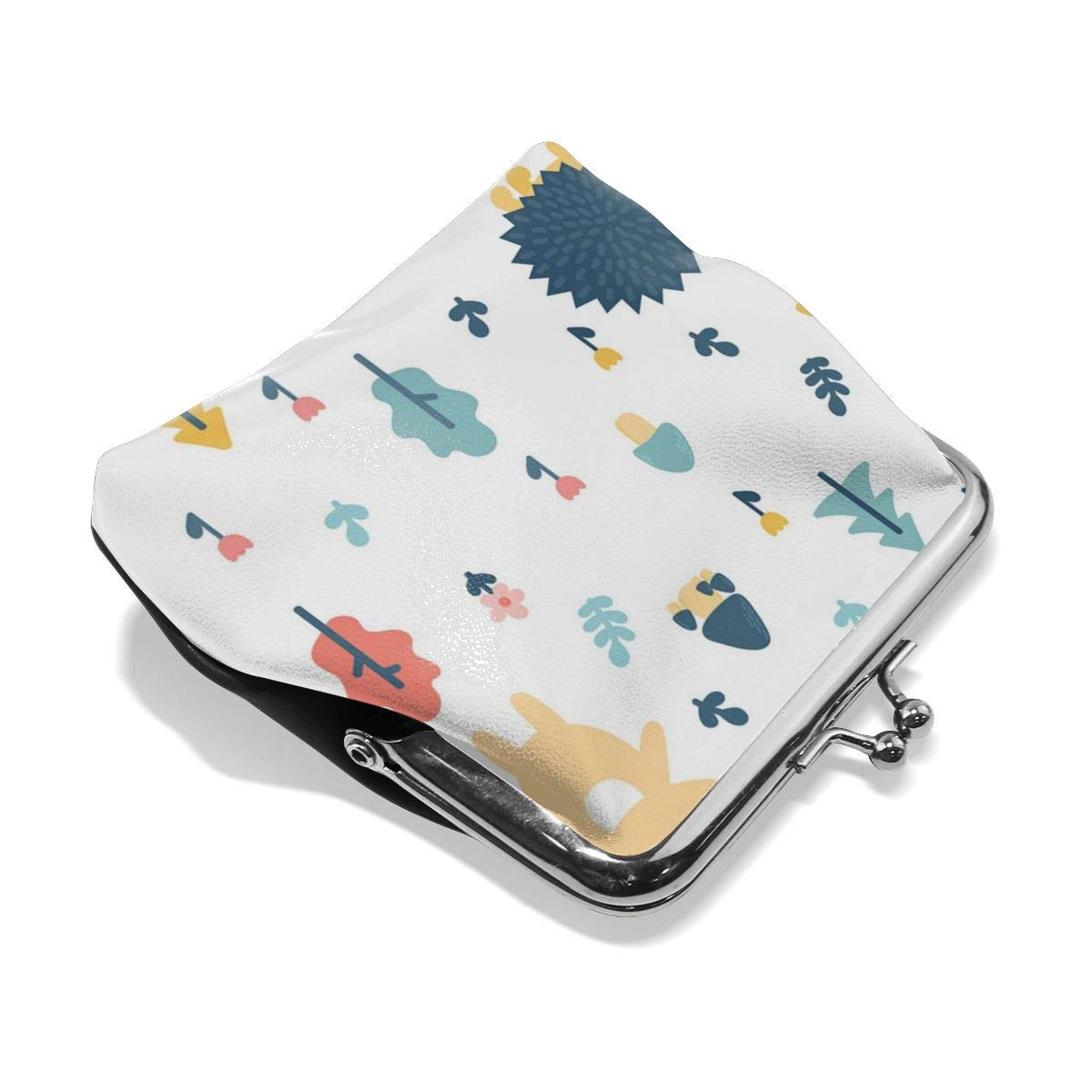 Yunshm Bear Cub Hedgehog And Mushroom Customized Retro Leather Cute Classic Floral Coin Purse Clutch Pouch Wallet For Girls And Womens
