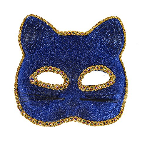 Mardi Gras Party Masquerade Mask,Venice mask Christmas Halloween mask cat face Painted mask Blue Prom -