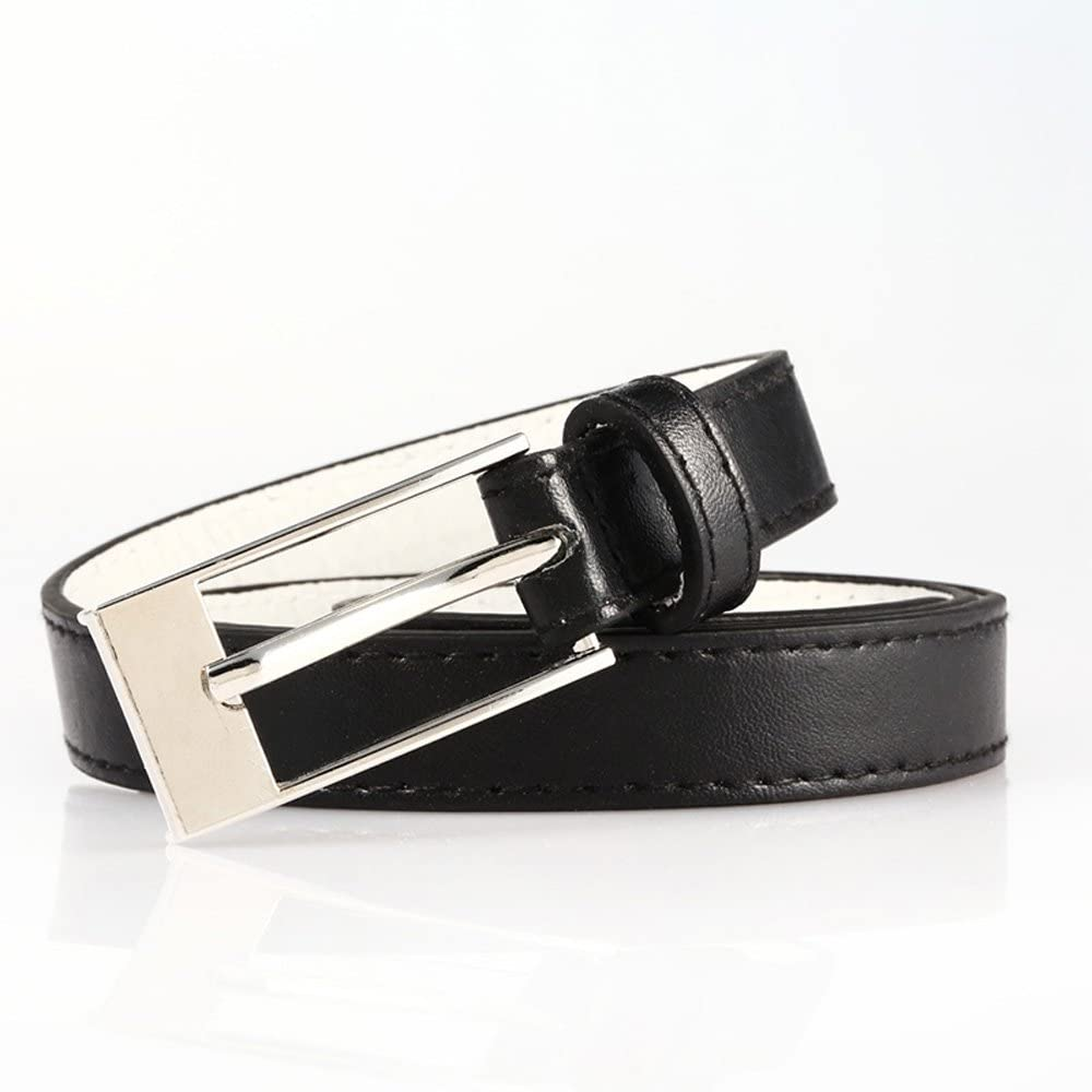 Womens Skinny 3//4 Faux Leather Belt With Metal Buckle Vegan Vegetarian Aprroved
