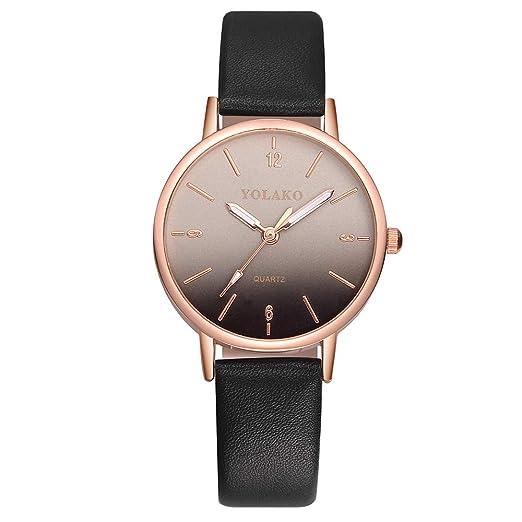 Yivise Moda Mujer Reloj Casual Banda de Cuero Hebilla de Cuarzo Analógico Dial Colorido Indicador Simple Reloj de Pulsera(A): Amazon.es: Relojes
