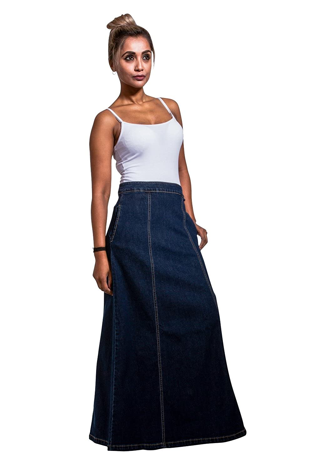 USKEES MATILDA Denim Maxi Skirt  Darkwash Long Jean Skirt with Stretch US 1020