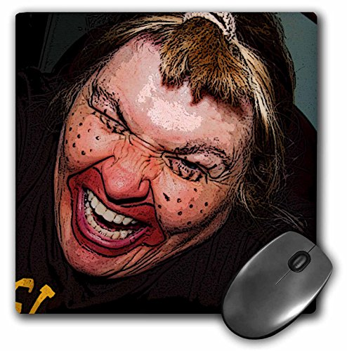 3Drose 8 X 8 X 0.25 Inches Mouse Pad Lady Dressed Up Like Ugly Clown for Halloween with Her Face Very Animated, Silly and Scary (mp_49539_1) -