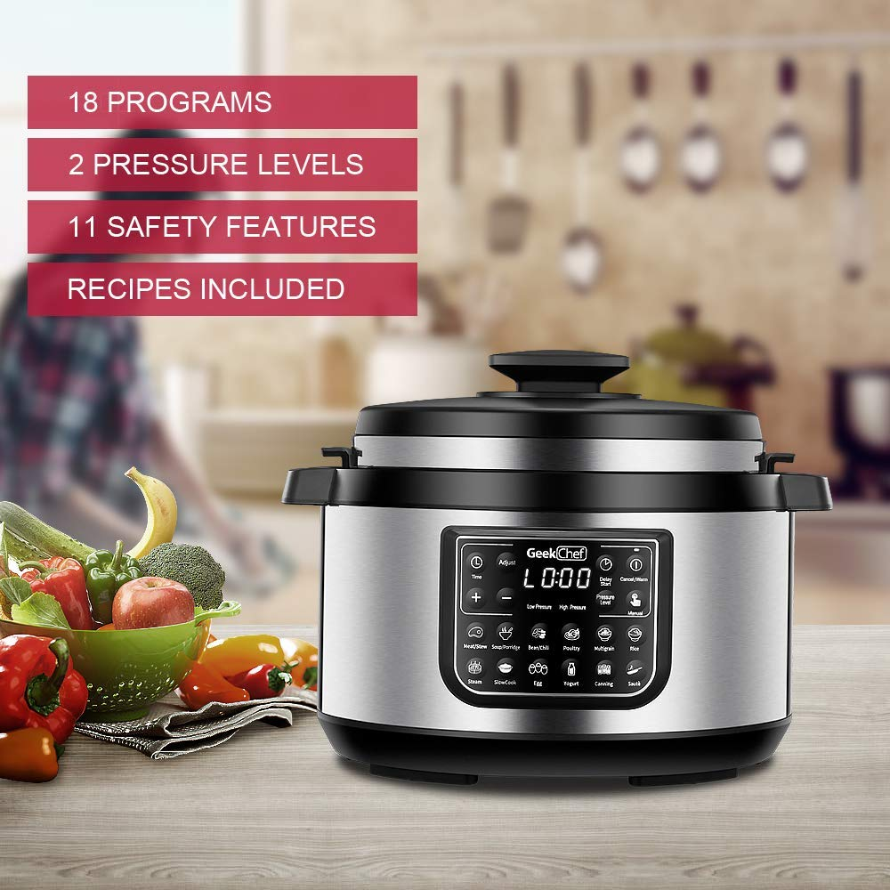 Geek Chef 8 quart OVAL shape multi-functional electric pressure cooker.New technology,designed with non stick oval inner pot, cool-touch handles, EZ-Lock,slower cooker,rice cooker combination by  (Image #5)