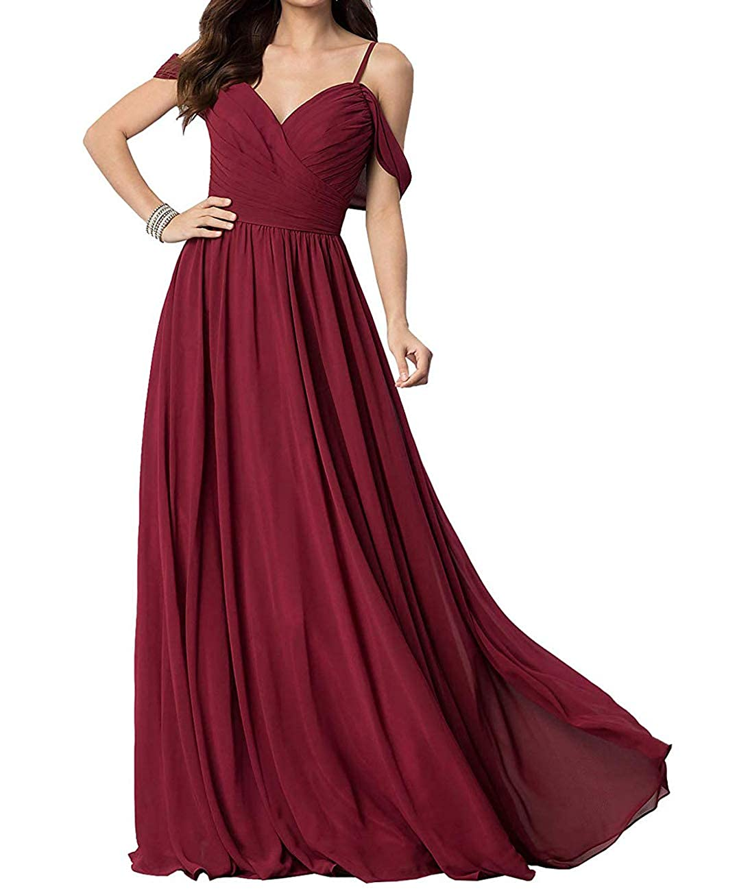 Burgundy Long Prom Gown and Evening Dresses for Women OffTheShoulder Bridesmaid Dresses