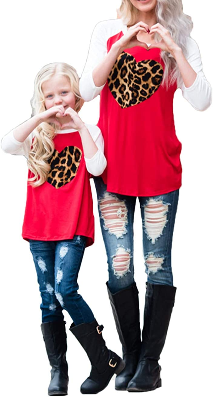 Mommy and Me Fashion Deer Print Long Sleeve T Shirt Blouse Tops Matching Family Clothes Women L, Leopard