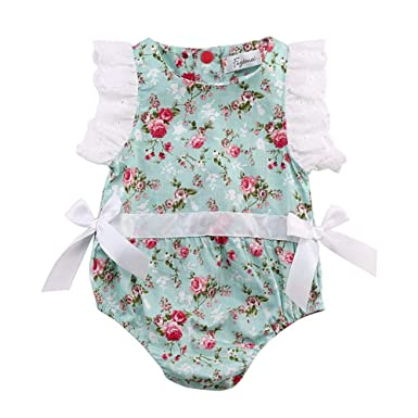 3f794e475bf3 Infant Baby Girl Summer Lace Layered Ruffle Sleeve Romper Dress Bodysuit  Clothes (Green-070