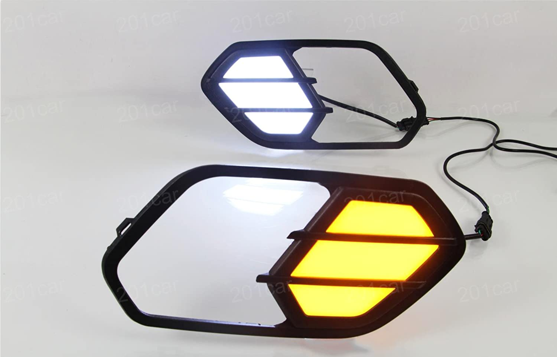 Yellow Fog Lights Daytime Running Light Decoration Lamp LED Warning Light Cover Trim Emblems Custom Fit 2pcs White