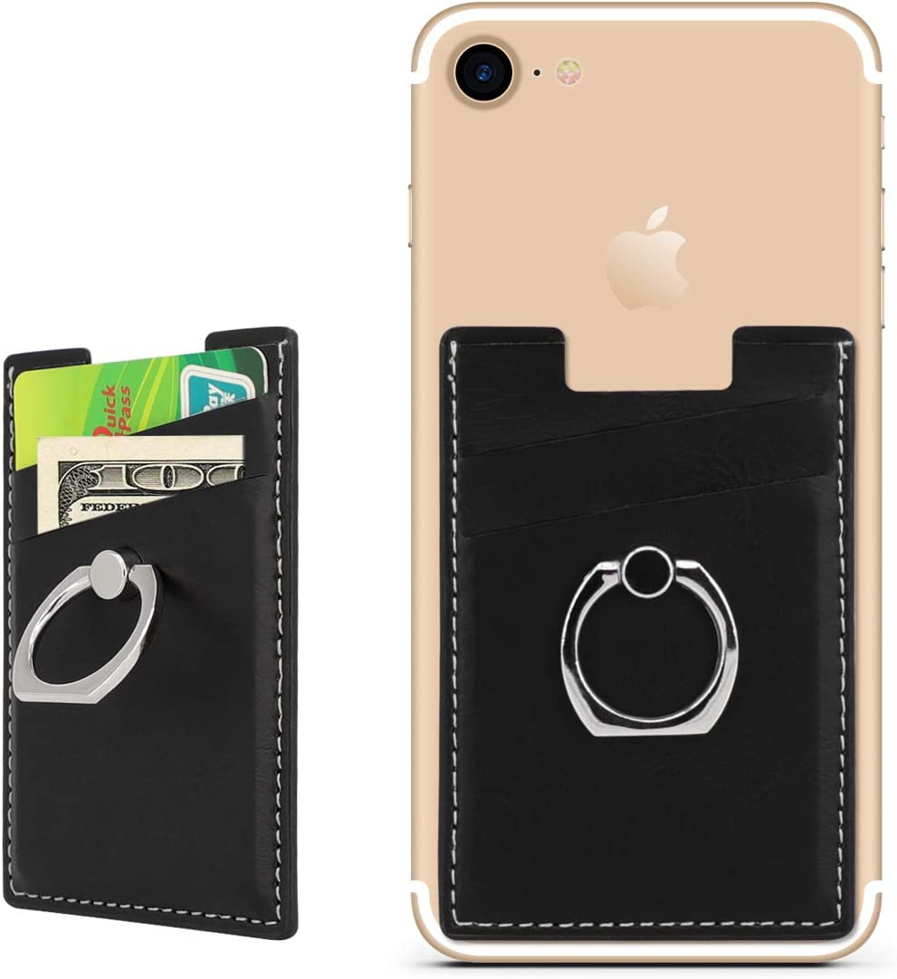Phone Card Holder with Ring Grip for Back of Phone,Adhesive Stick-on Credit Card Wallet Pocket for iPhone,Android and Smartphones Metal