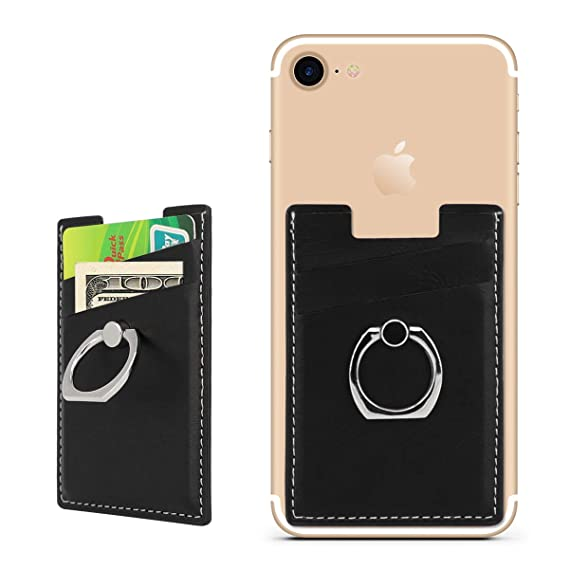 new arrival 7949c f0227 BIBERCAS Phone Card Holder with Ring Grip Stand Adhesive Stick-on Credit  Card Wallet for iPhone and Android,Compatible with Magnetic Car Mount ...