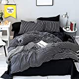 Black and White Duvet LAMEJOR Duvet Cover Sets Queen Size Stripes Pattern Washed Microfiber Soft Bedding Set Comforter Cover (1 Duvet Cover+2 Pillowcases) Black/White