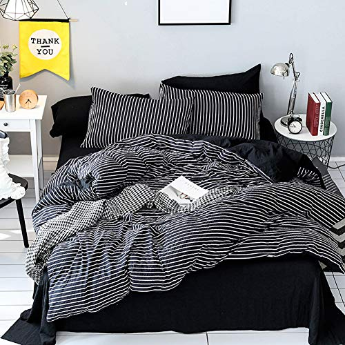 LAMEJOR Duvet Cover Sets Queen Size Striped Pattern Reversible Luxury Soft Bedding Set Comforter Cover Microfiber (1 Duvet Cover+2 Pillowcases) Black/White