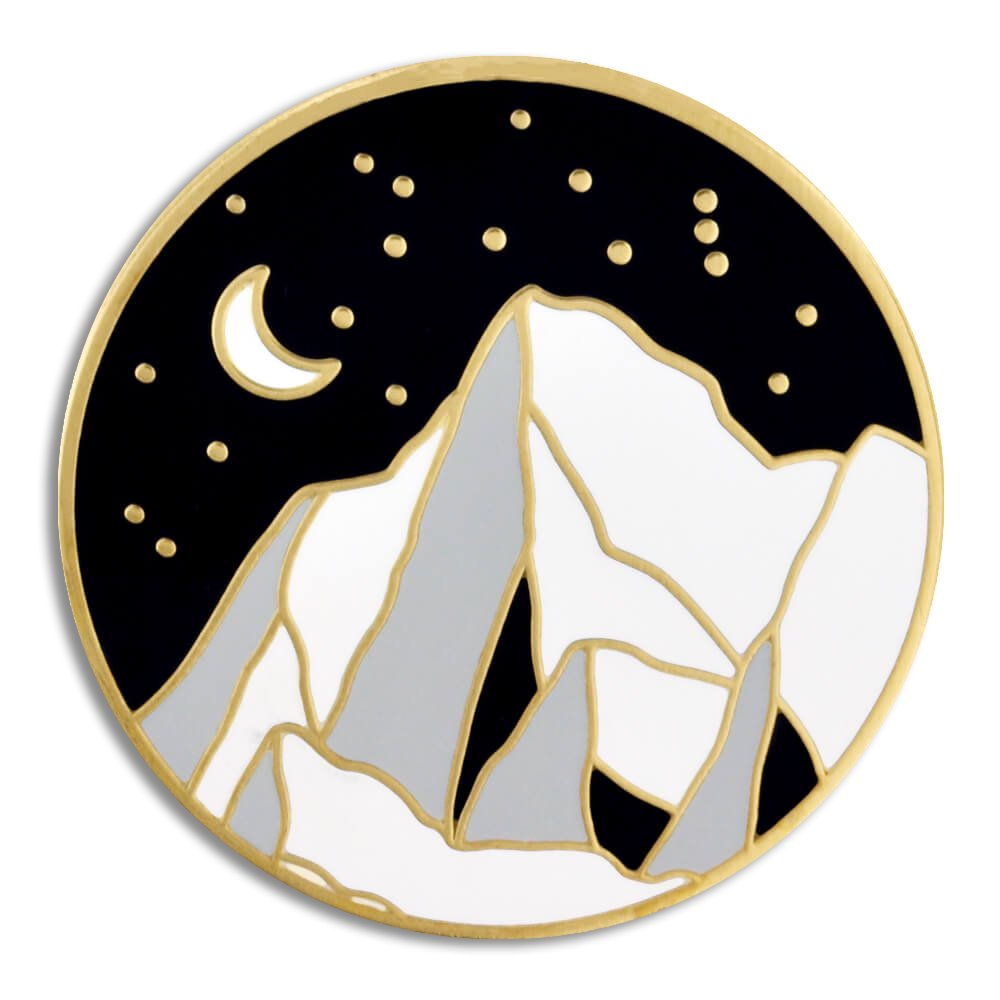 PinMart Moonlight Mountain Jewelry Enamel Outdoor Nature Lover Lapel Pin