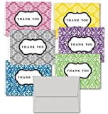 Damask Thank You Note Cards - 36 Thank You Cards - 6 Designs - Blank Cards - Gray Envelopes Included