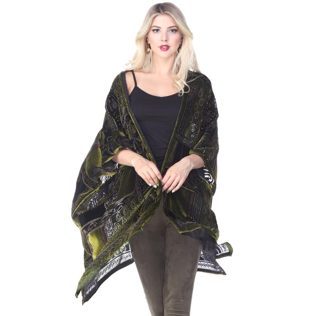 Aris A Women 100% Silk Velvet Vintage Paisley Ruana