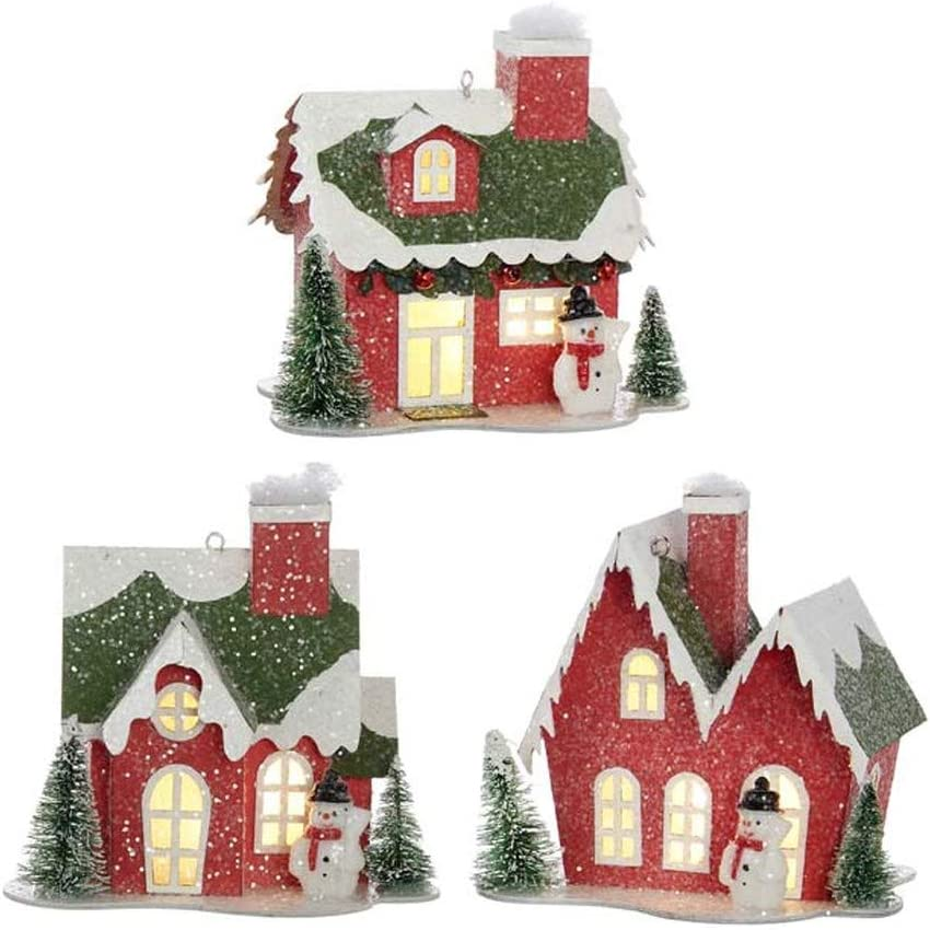 RAZ Imports Home for The Holidays 4.75-Inch House Lighted Ornament, Assortment of 3