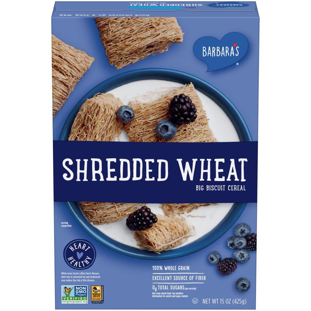 BARBARA'S Shredded Wheat Cereal, Heart Healthy, Non-GMO, 100% Whole Grain, 15 Oz Box (Pack of 12)
