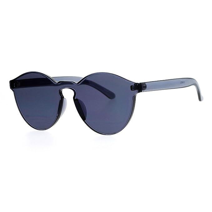 69c6288999c Rimless Flat Lens Sunglasses One Thick Translucent Round Lens Frame Black
