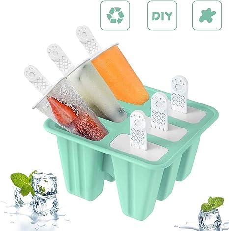 Moldes para paletas de hielo para ni/ños 4 moldes para helados Moldes para paletas de hielo Moldes para helados de silicona sin BPA para el verano Juego de paletas de hielo y helados de bricolaje