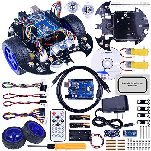 Quimat Arduino Project Smart Robot Car Kit with Two-Wheel Drives,UNOR3 Board,Tracking Module,Ultrasonic Sensor and Bluetooth Remote Control,More Intelligent and Educational Car for Teens and Adults]()