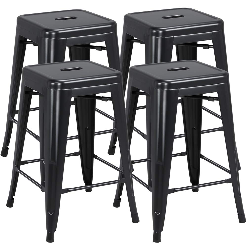 Yaheetech 24 inch barstools Set of 4 Counter Height Metal Bar Stools, Indoor/Outdoor Stackable Bartool Industrial High Backless Stools Black, Capacity 331 lb by Yaheetech
