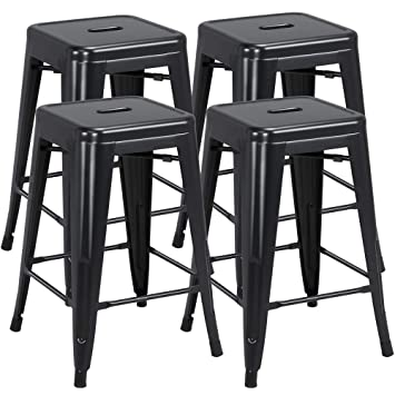 Fine Yaheetech 24 Inch Barstools Set Of 4 Counter Height Metal Bar Stools Indoor Outdoor Stackable Bartool Industrial High Backless Stools Black Capacity Gmtry Best Dining Table And Chair Ideas Images Gmtryco