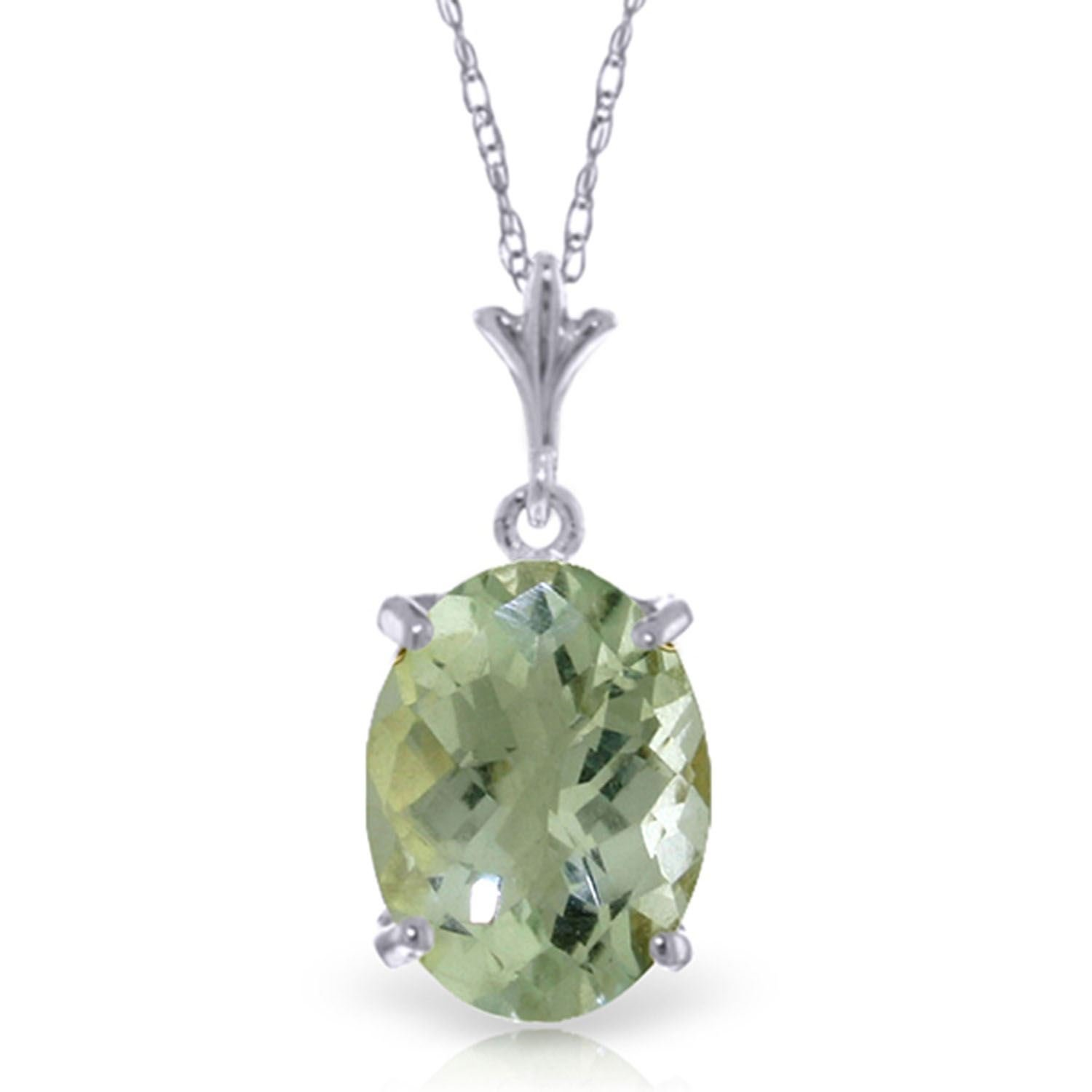 ALARRI 3.2 CTW 14K Solid White Gold Starting Now Green Amethyst Necklace with 20 Inch Chain Length