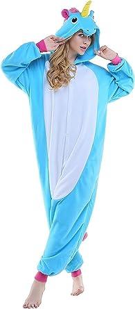 KINO - Pijama de una Pieza - para niña Azul Unicornio Azul M ...