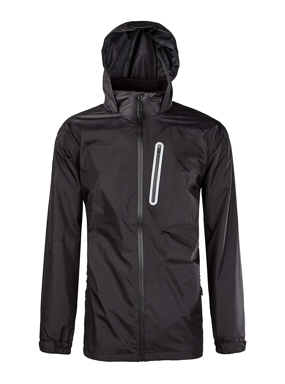 ZITY Men Hiking Light Weight Jacket Hooded Thin Rainwear Windproof Breathable Rain Coat, Black, US XL by Sikedi