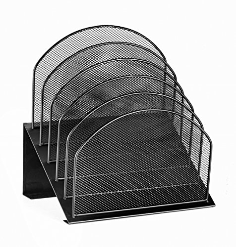 AdirOffice Mesh 5 Slot Desk Organizer - Desktop Incline Caddy (Black) - Corner Organizer Mesh Steel