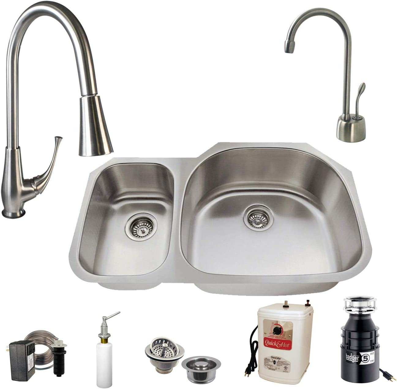 Westbrass U3148B71-07 All-in-One Undermount Stainless Steel 30 70 Double Bowl Kitchen Sink Set Includes Faucet, Badger 5 and Hot Water Dispenser 31.5 Stainless Steel