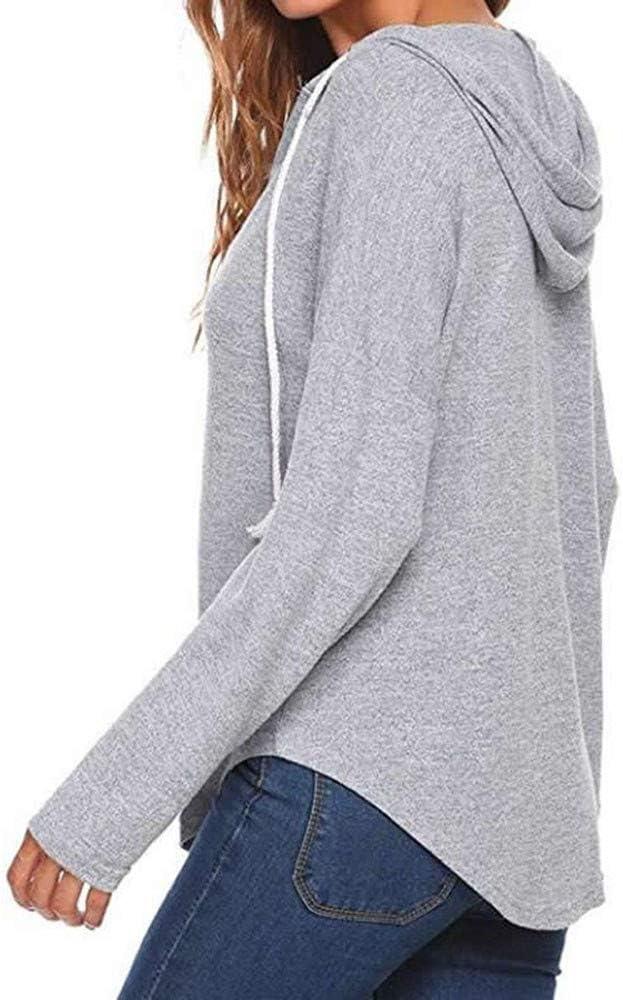 LUCKYCAT Blusa de la Camisa de Manga Larga con Cuello en V de ...