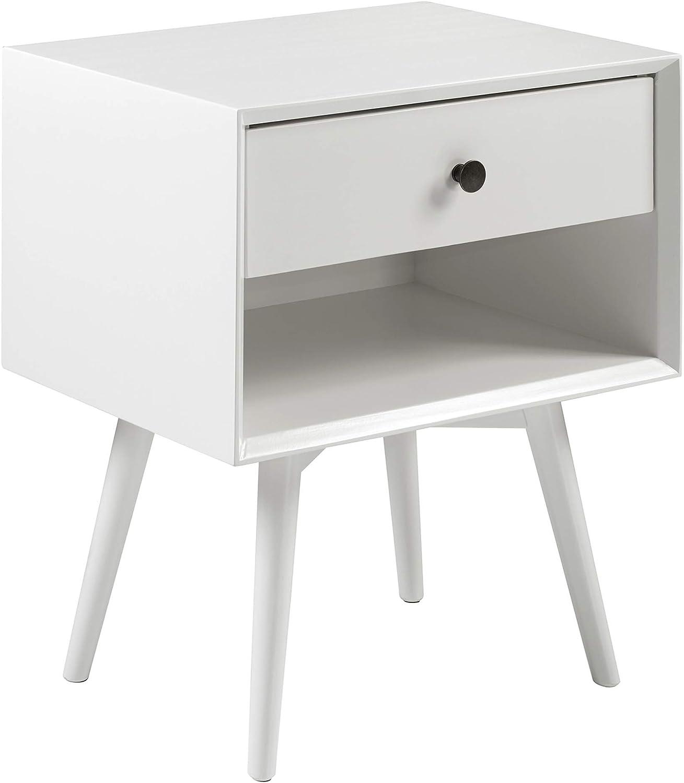 Walker Edison Ella Mid Century Modern 1 Drawer Solid Wood Nightstand, 25 Inch, White