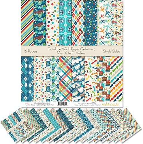 Miss Kate Cuttables パターン ペーパーパック 世界旅行用 スクラップブック スペシャルティペーパー 片面 12インチx12インチ コレクション 16枚入り