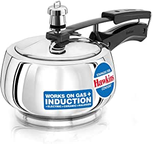Hawkins Contura Stainless Steel Pressure Cooker For Induction, Gas And Electric Stoves (1.5 Liter)