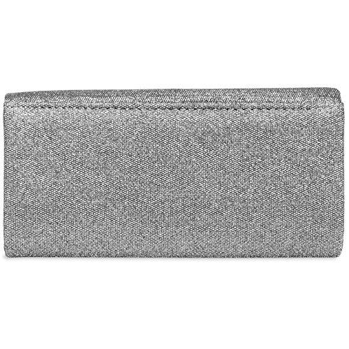 Ladies Long TA401 Glitter Design Evening Silver Pleated with Elegant CASPAR Stylish Bag Clutch wSqtZ5Ed