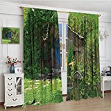 smallbeefly Hobbits Thermal Insulating Blackout Curtain Widened Fantasy Hobbit Land House in Magical Overhill Woods Movie Scene New Zealand Customized Curtains 120''x96'' Green Brown Blue