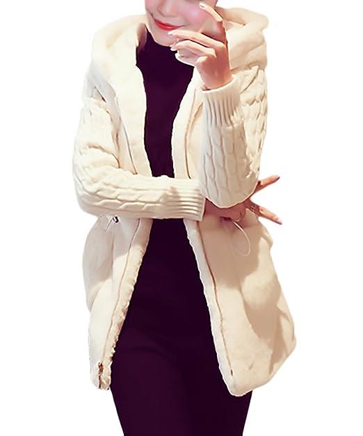 Mujer Cárdigans con Capucha Tallas Grandes Invierno Abrigos De Pelo Manga Larga Elegantes Abiertas Jerseys Más Grueso Marca Chaquetas De Punto Hoodie Casual ...