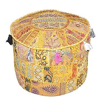 Navya Creations Indian Vintage Ottoman Pouf Cover Handmade Patchwork Cotton Ottoman Foot Stool