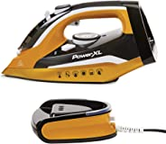 PowerXL Cordless Iron and Steamer, 1400W Iron with Ceramic Soleplate, Vertical Steam, Anti-Calc, Anti-Drip, Auto-Off, Power