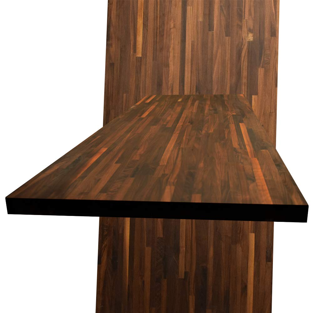 Walnut Butcher Block Kitchen Counter Top - Custom Size - 48 Inches Length x 24 Inches Width x 1-1/2 Inches Thick