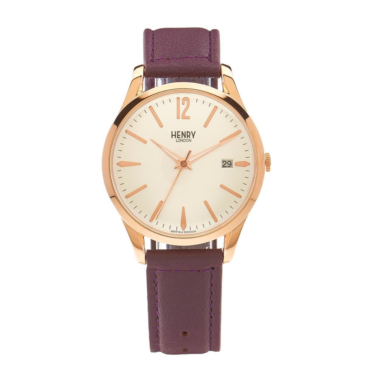 Henry London Reloj Analógico para Unisex de Cuarzo con Correa en Cuero 5018479077855: Henry London: Amazon.es: Relojes
